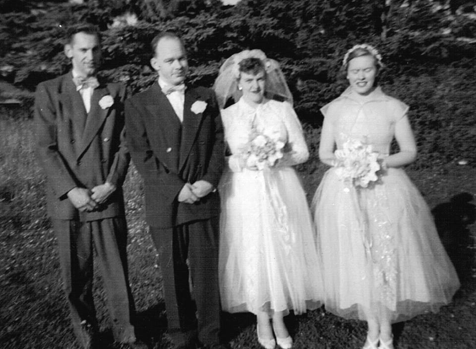 June is on the right, bridesmaid for her brother Cecil's wedding.