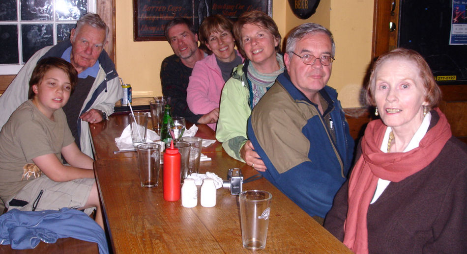 At the Fo'c'sle Tavern in Chester, October 2010. L-R: Malcolm, Charles, Mike, Dorcas, Heather, Steve, June