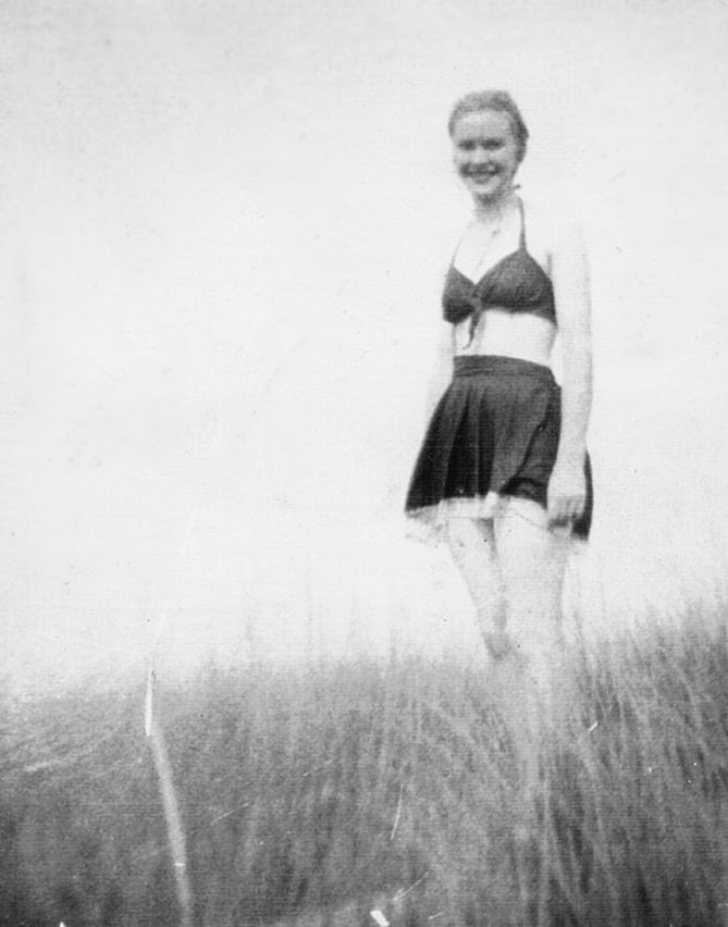 Swim fashion in 1949. June at 16, probably at Brackley Beach in PEI.