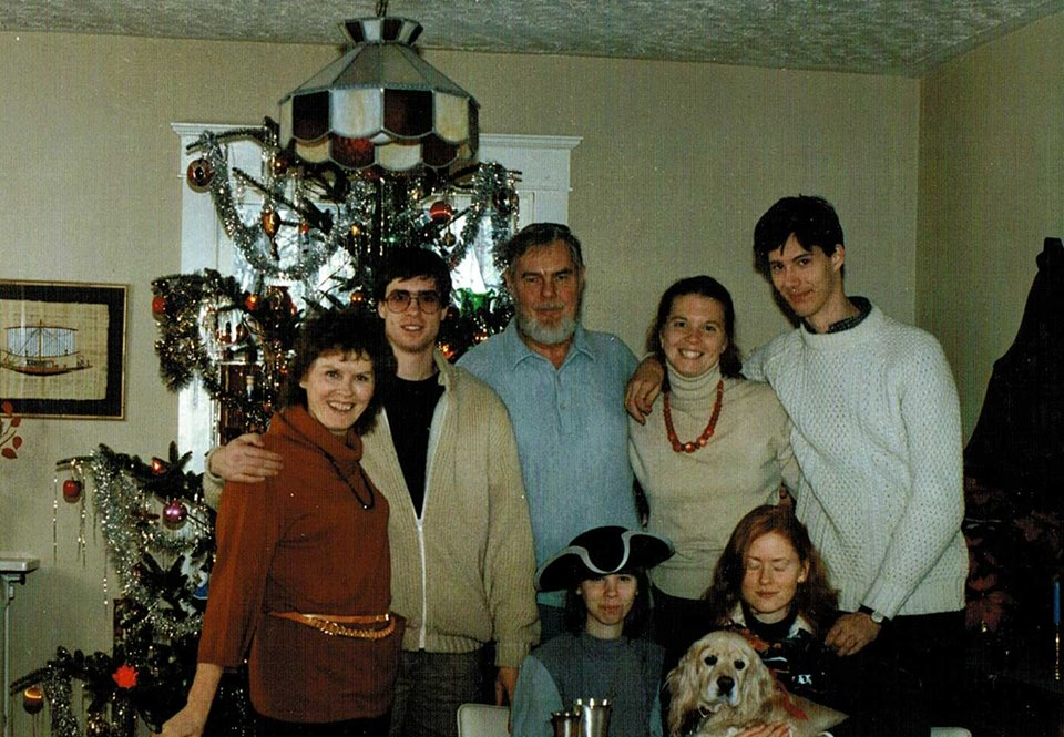 Here we are in a blended family Christmas, c. 1984. David Maginley (right) and my brother (2nd left) had been friends, and sort of brought their parents together.